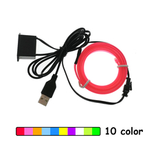 1m/2m/3m/5m 6mm Sewing Edge Neon Light Dance Party Car Decor Light Neon Flexible EL Wire Rope Tube LED Strip With 5V USB Plug