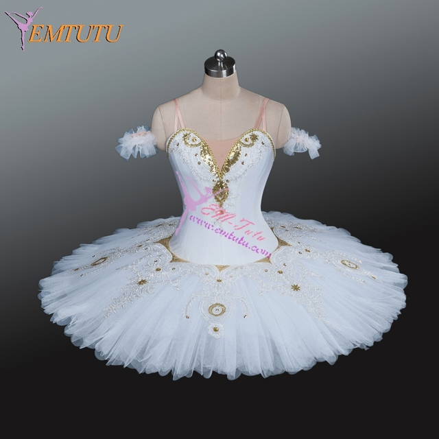 21547a0f85 Adult Professional Ballet Tutu White Gold Classical Ballet Tutus Ballerina  Competition Performance Tutu Women ballet costumes