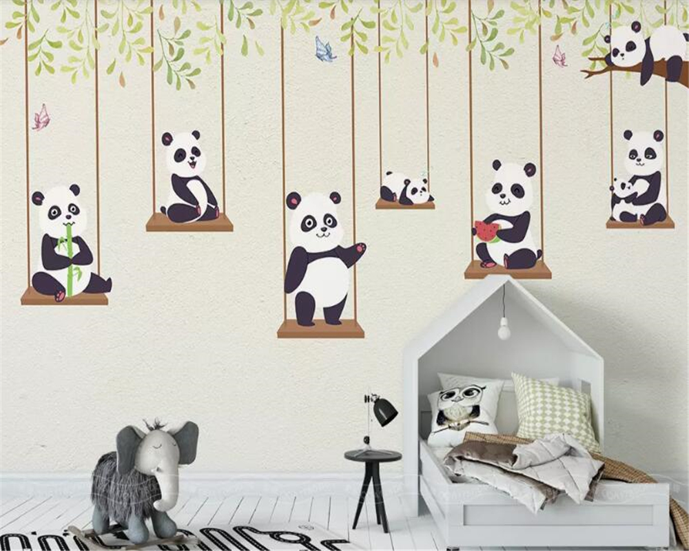 beibehang Customized simple cartoon cute panda warm moon small yellow duck children 39 s room background wallpaper decoration mural in Wallpapers from Home Improvement
