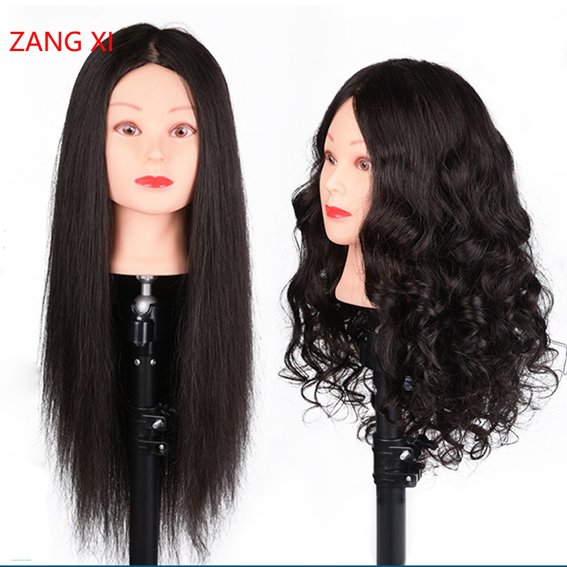 """26"""" Black Long Hair Tete Mannequin 85% Real Hair Professional For Curl Iron Straighten Practise Hairstyle Nice Mannequin Head"""