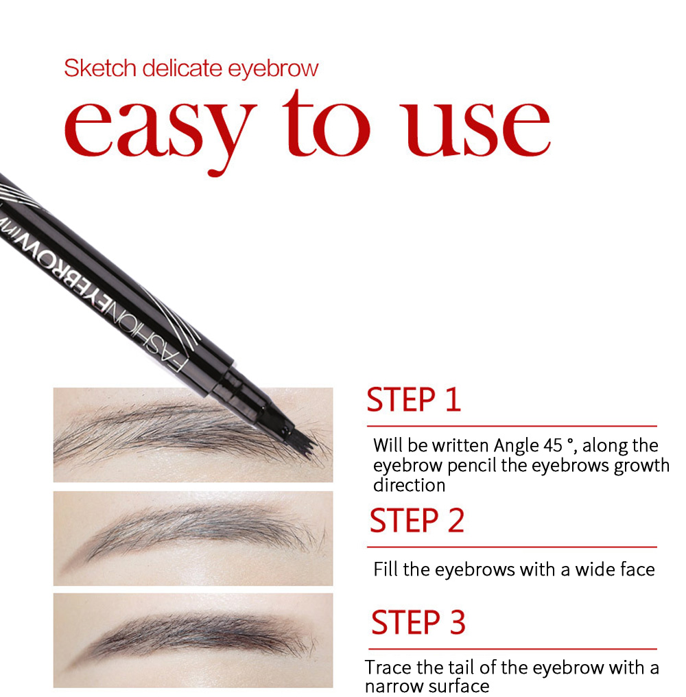 Waterproof Eyebrow Tint Makeup Four Color Eyebrow Pencil Brush