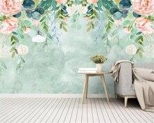Купить с кэшбэком Beibehang Custom wallpaper Nordic small fresh hand-painted watercolor flowers mural bedroom hotel background wall 3d wallpaper