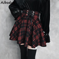 Large Size Vintage Wool Cotton Black and Red Plaid Skirt Women's Winter Autumn Fashion Gothic Gothc Short Skirt A line Pleated