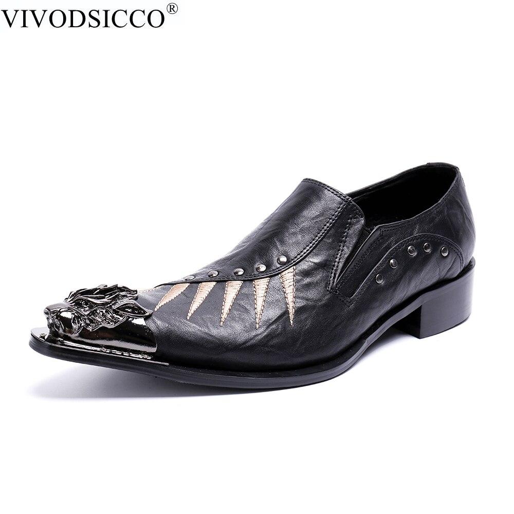 style De Luxo Oxfords 2 Style 1 Se Dos Vivodsicco Pontiagudos Toe Sapato Negócios Metal Flats Pés Couro Vestem Marca Sapatos Preto Casamento Homens 1CcEq5