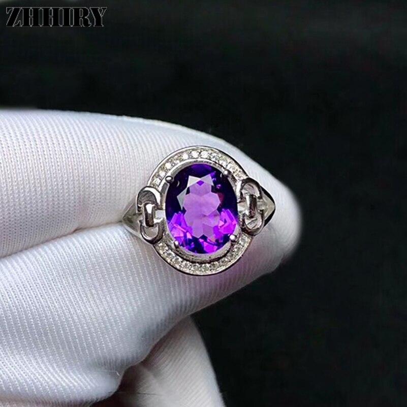 ZHHIRY bague améthyste naturelle véritable solide 925 en argent Sterling pour femme vraie grande pierre gemme anneaux bijoux fins