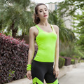 Good Quality Summer Quick Dry Slim  Women Tank Tops Fitness  Sleeveless Padded Bra Vest for  Y25101
