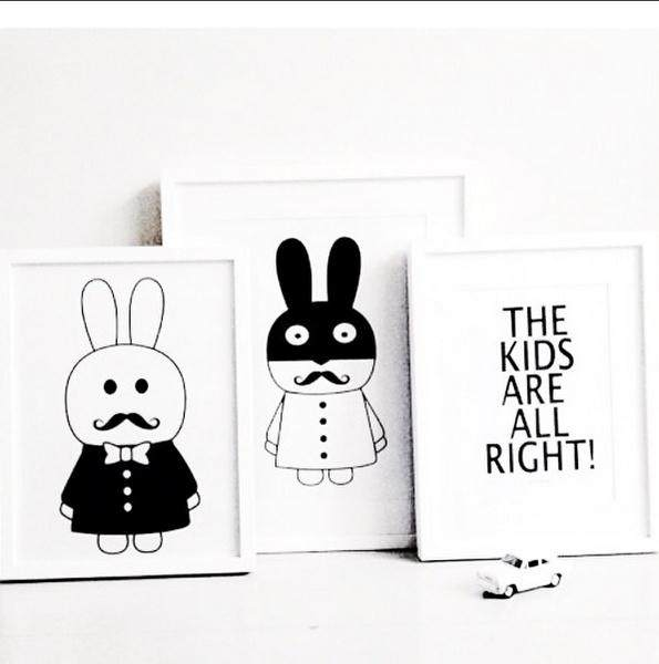 New decorative pictures poster art for kids room baby painting black and white batman bunny posters and prints frame not include