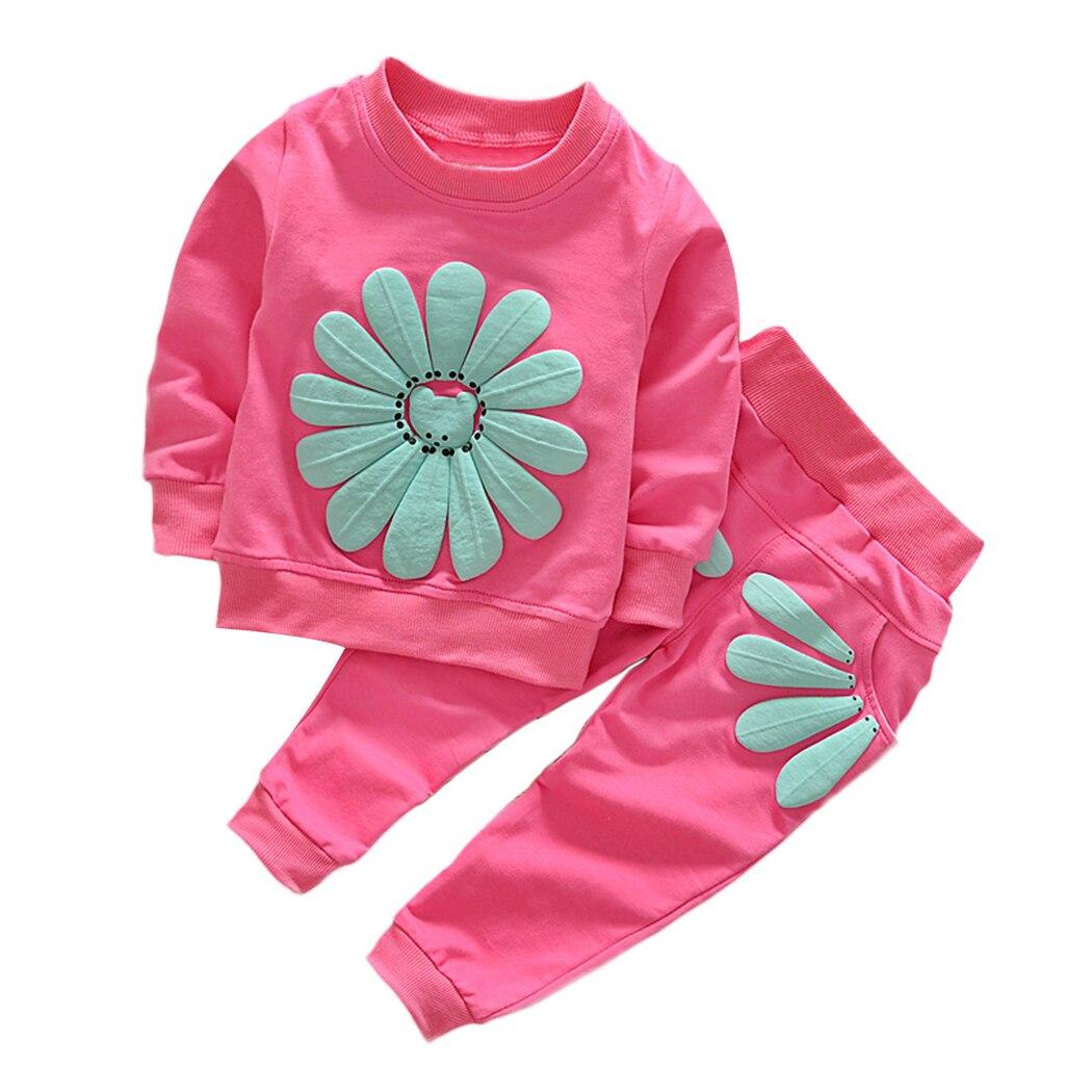 2 шт. Новая осень весна детские, для малышей Обувь для мальчиков Обувь для девочек милый цветок хлопка Комплекты для девочек футболка + Брюки ...