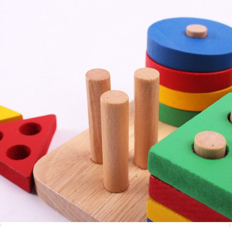 Wooden Educational Montessori Intelligence Geometry Board 5