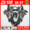 Hot Sale Fairings For 2006 2007 Kawasaki ZX10R 06 07 Black With Red White Flames ZX