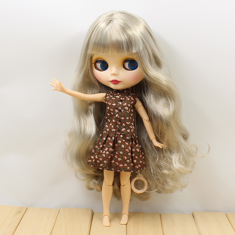 Free shipping Nude Blyth doll joint body grey long hair 1/6 bjd blyth dolls for girls gifts