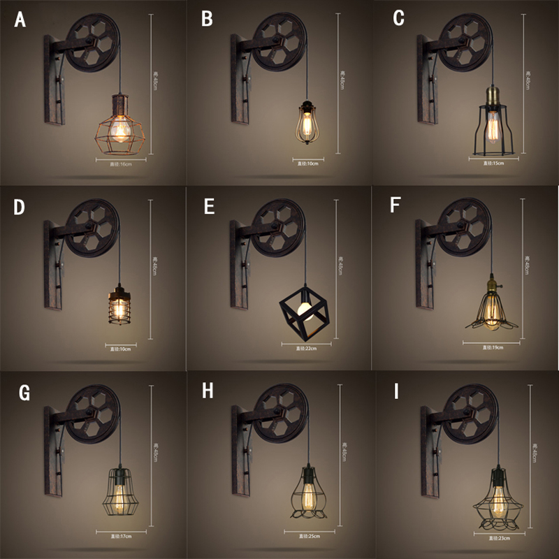 Loft retro lamp creative lifting pulley wall light dining room restaurant aisle corridor pub cafe inns bar wall sconce zoku набор для приготовления мороженого duo quick pop maker зеленый zk107 gn zoku