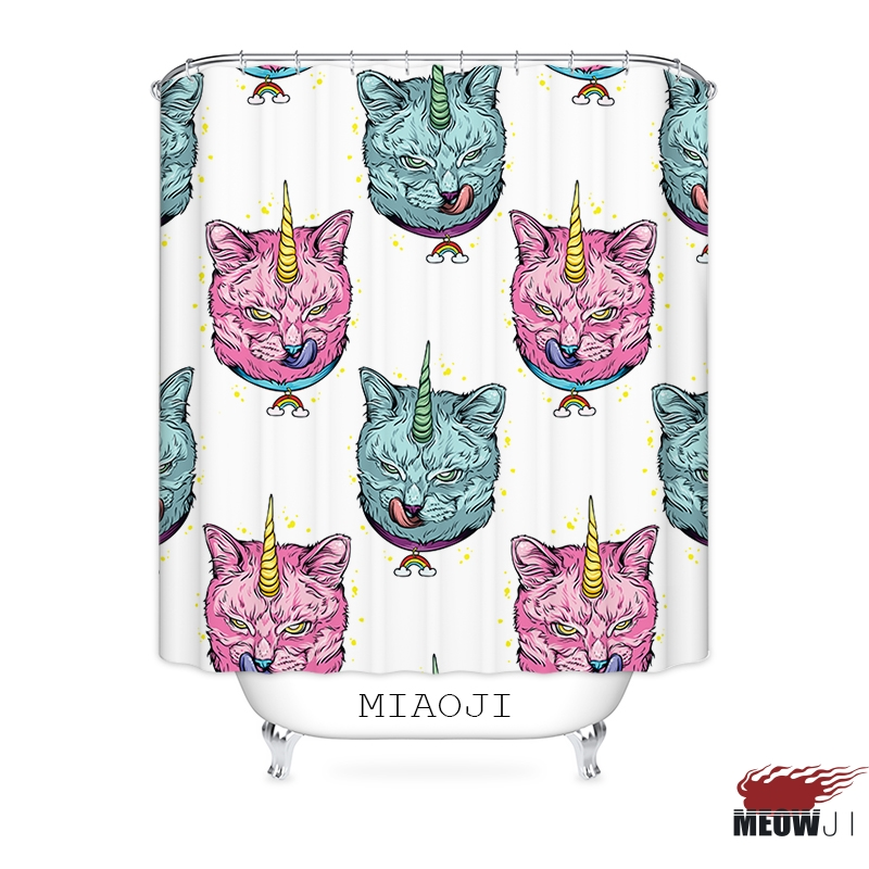 [MIAOJI] The Unicorn Cat Adorable Printed Polyester Fabric Bathroom Shower Curtain with Hooks Free Shipping