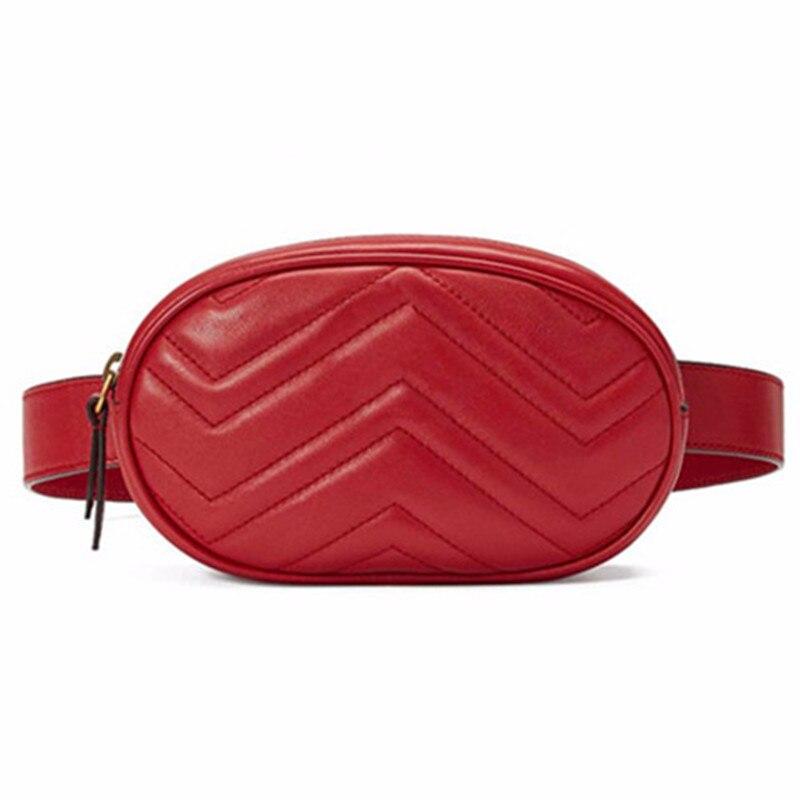 100% QualitäT Taille Tasche Frauen Taille Fanny Packs Gürtel Tasche Luxus Marke Leder Brust Handtasche Rot Schwarz Farbe 2018 Neue Mode Hight Qualität