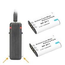 2Pcs 1200mAh NP-BY1 NPBY1 BY1 Camera Battery + USB Dual Charger For HDR-AZ1VR AZ1 AZ1V AZ1VR Sport Action Cam Mini Camcorder