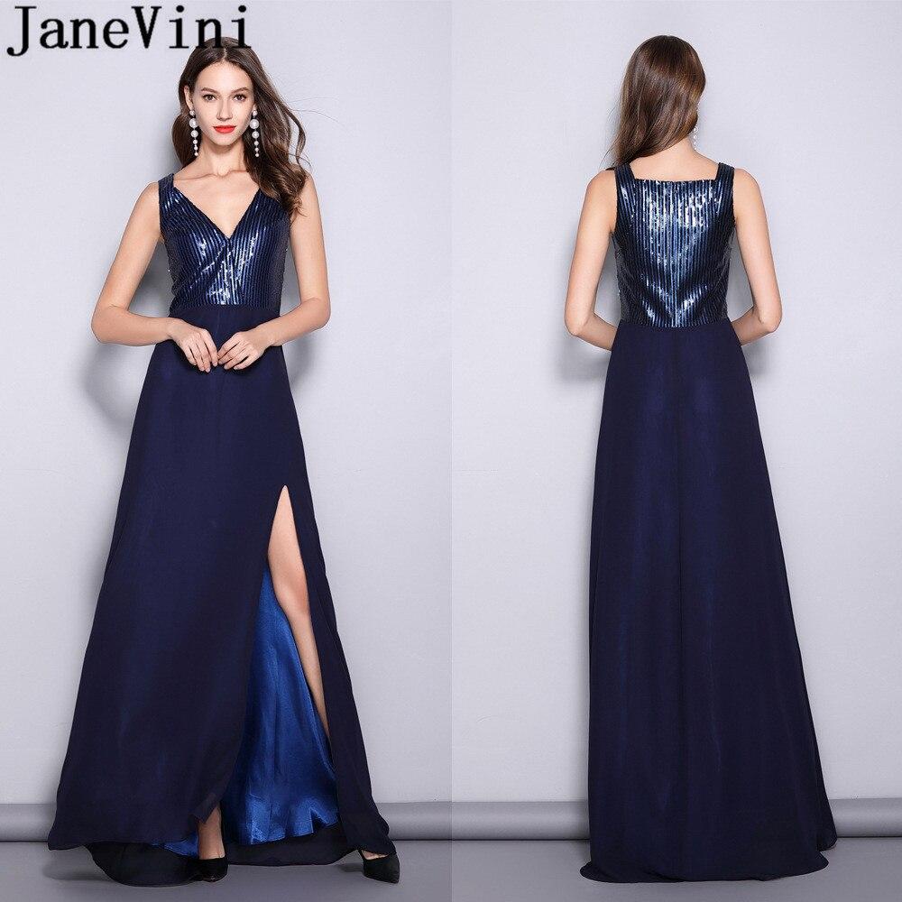 JaneVini Navy Blue V-Neck Long   Bridesmaids     Dresses   Wedding Party Sexy Side Split Chiffon Sequins Ladies Formal Guest   Dress   2019