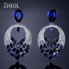 ZAKOL Brand Design Luxury Water Drop AAA Cubic Zircon Drop Earrings For Women Engagement Party Dinner Dress Jewelry FSEP635