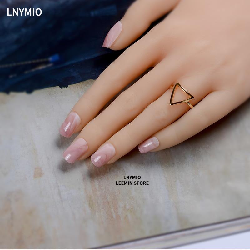 Marble fake nails pink grey press on false tips square natural ...