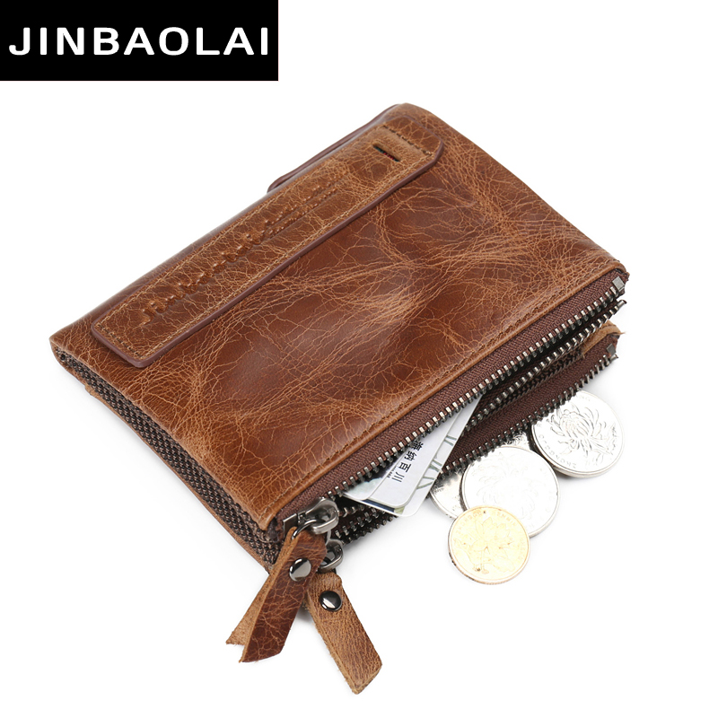 JINBAOLAI Genuine Crazy Horse Cowhide Leather Men Wallets Short Coin Purses Vintage Wallet Brand High Quality Designer carteira italian style fashion men s jeans shorts high quality vintage retro designer classical short ripped jeans brand denim shorts men