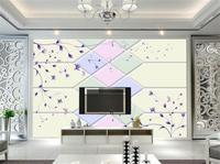 3D Wallpaper Custom Photo Wall Paper Romantic Color Soft Hand Painted Purple Pattern TV Sofa Bedroom