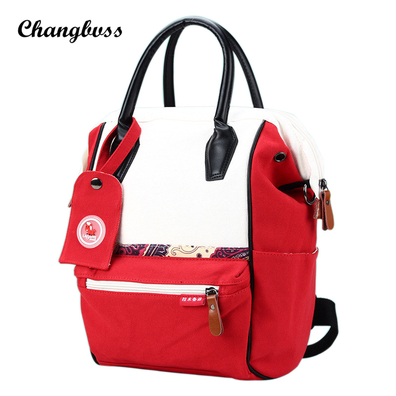 White&Red Contrast Color Canvas Backpack Large Capacity Backpacks For Teenage Girls School Bags Casual Women Bag mochila mujer men backpack student school bag for teenager boys large capacity trip backpacks laptop backpack for 15 inches mochila masculina