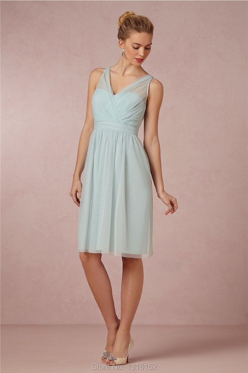 Short light blue tulle beach bridesmaid dress v neck bow back short light blue tulle beach bridesmaid dress v neck bow back charming prom dress 2015 cheap maid of of honor gowns knee length in bridesmaid dresses from ombrellifo Image collections