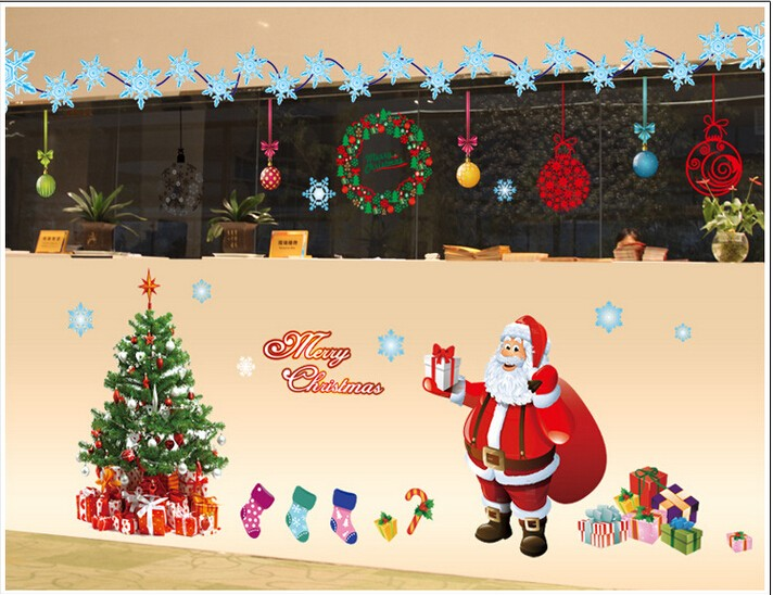 Merry Chirismas DIY Christmas Glass Wall Sticker Holiday New Year ...