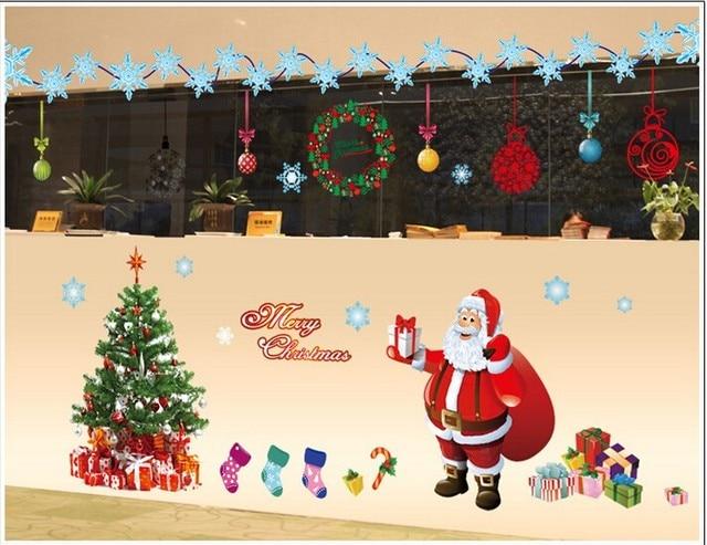 Merry Chirismas DIY Christmas Glass Wall Sticker Holiday New Year ...