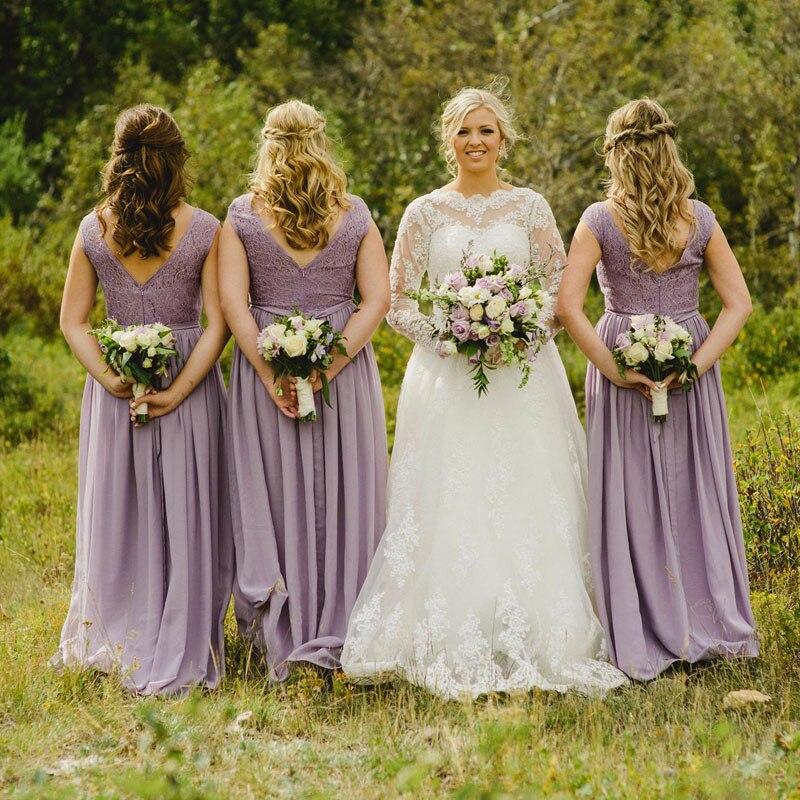 Lilac Long Bridesmaid Dresses 2017 Vintage Lavender Lace