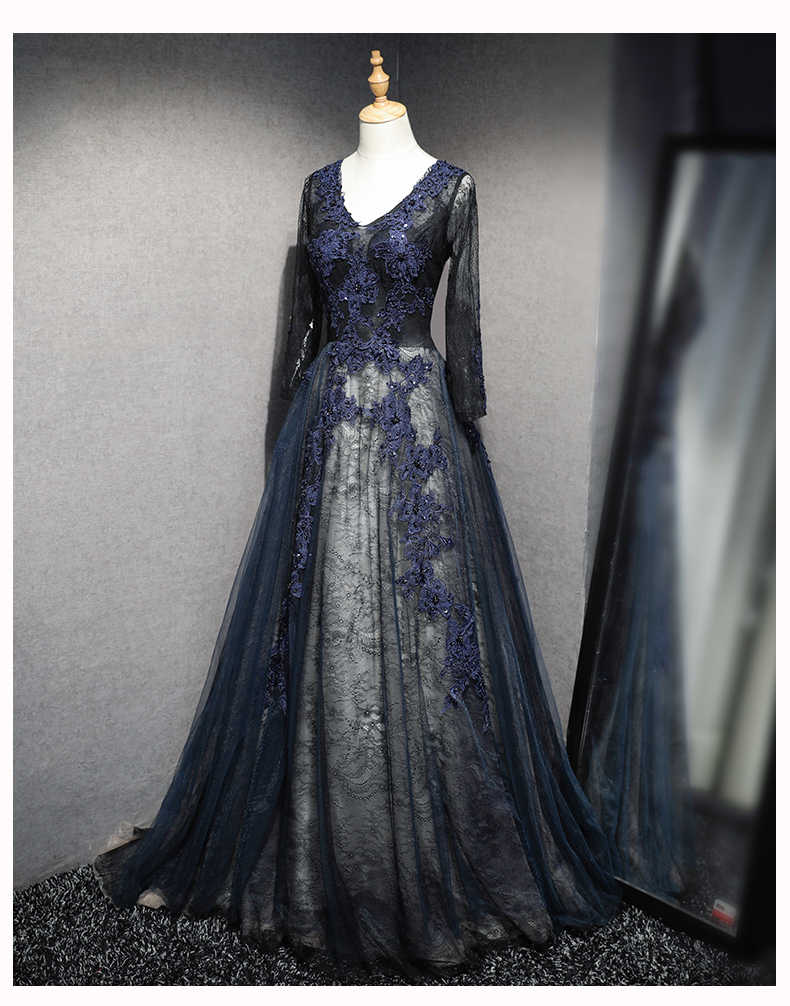 JaneVini 2018 Mangas Compridas Mãe dos Vestidos de Noiva de Tule a linha de Mulheres Negras Vestidos de Noite Formal com Laço Azul Marinha Beading