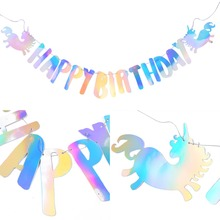 Sparkling Rainbow Unicorn Party Happy Birthday Banner Holographic Flags Kids Adults Decorations First
