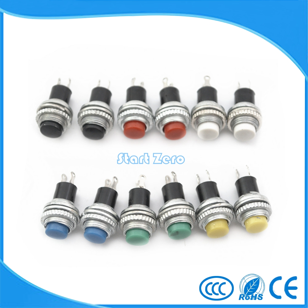 10pcs White Red Green Blue Black Yellow  Panel mount 10mm Momentary OFF-(ON) Push button Switch Upper Screw Thread 70meter set 6mm spiral wrapping bands white black red yellow blue green grass green each 10meter