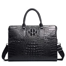 купить Luxury Genuine Leather Men's Bag Business Man Handbags Crocodile Cow Leather Men Briefcase 14