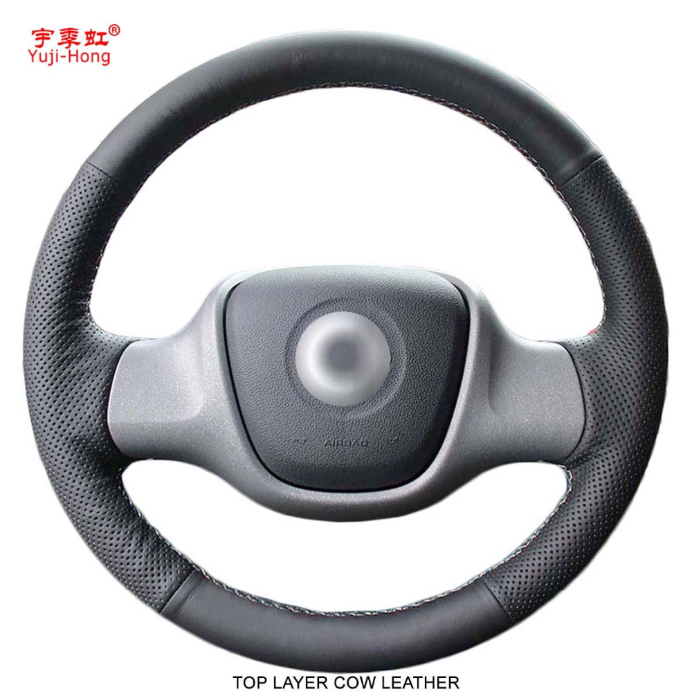 Yuji Hong Top Layer Genuine Cow Leather Car Steering Wheel Covers Case for BENZ Smart fortwo