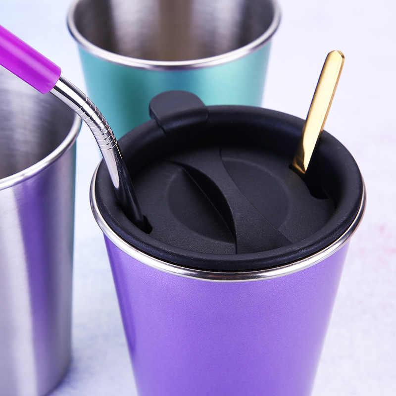 500 ML Herbruikbare Koffie Cup Draagbare Roestvrij Staal Reizen Mok Drinken Sap Thee Bier Mok Outdoor Meubels Drinken Gebruiksvoorwerpen
