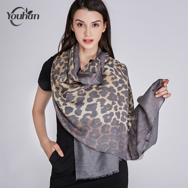 6c372f8a5afde YOUHAN 2018 Women Scarf Luxury Brand Leopard Print Viscose Blanket Shawl  Scraf Long Scarves Lady Wraps