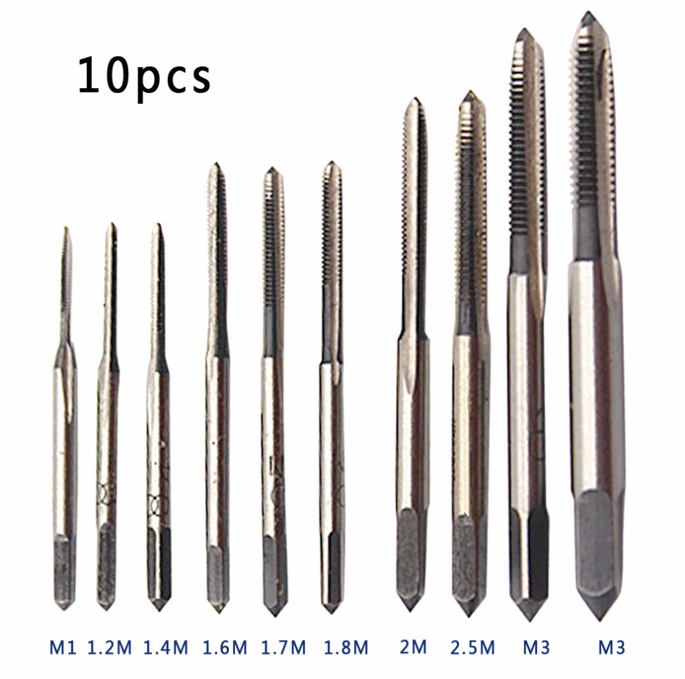 10Pcs Mini Hand Tap Thread Wire Tapping Threading Grinding Carving Tap Die Tool Set M1 M1.2 M1.4 M1.6 M1.7 M1.8 M2 M2.5 M3 M3.5  wire thread insert installation tool braces tapping nut wrench 468 101 216