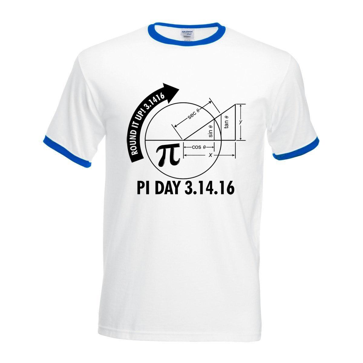 2017 new arrival contrast hit collar t-shirts Pi Day 3.1416 Round It Up camisetas men harajuku short sleeve Math Graph tops tees