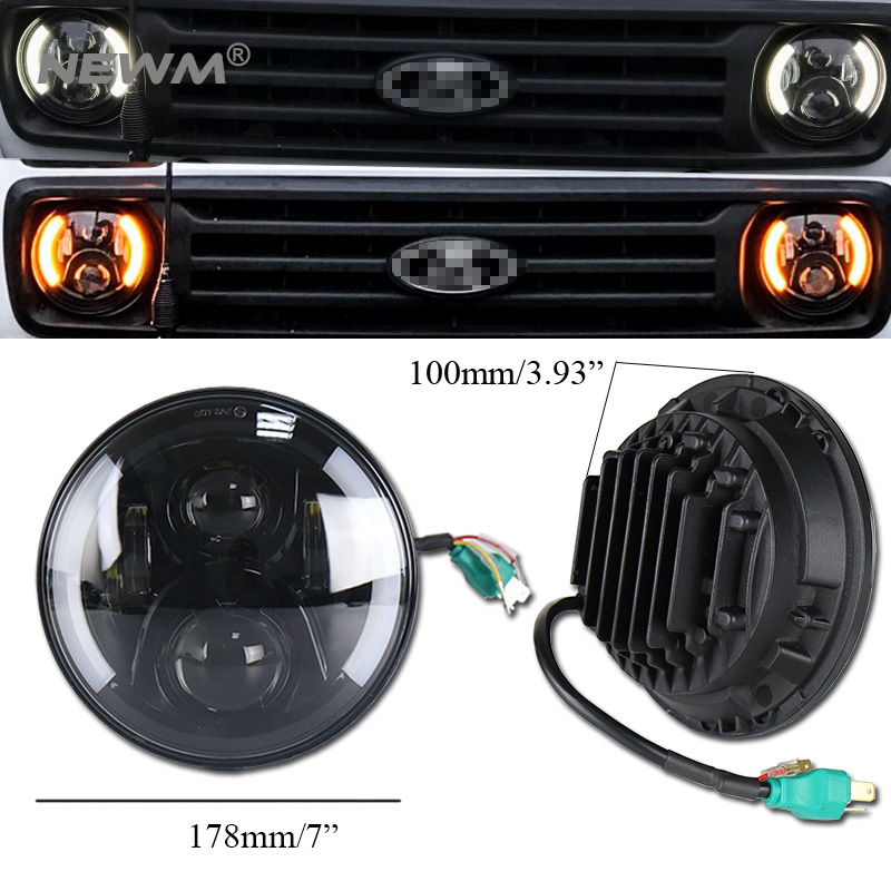 2pcs black/Silver 7 Inch Round H/Low lm LED Headlight For Lada 4x4 urban Niva For Jeep W ...