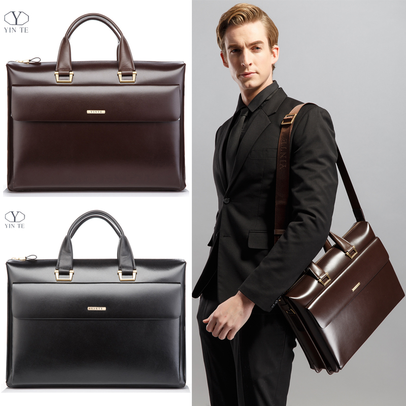 YINTE Business Men 39 s Briefcase Leather 14 inch Laptop Bag High Quality Messenger Large Capacity Men 39 s Totes Portfolio T8182 3 in Briefcases from Luggage amp Bags