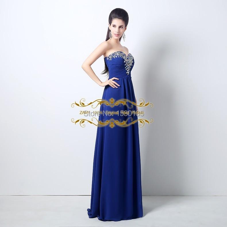Customize royal blue crystal beaded chiffon evening dresses vestidos ...