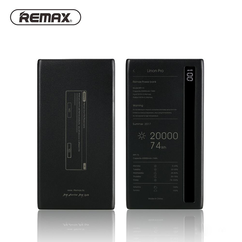 REMAX Power Bank 20000 mah Portable Charging Battery Charger Dual USB Ports Power Supply with Led Light for xiaomi mi power bank