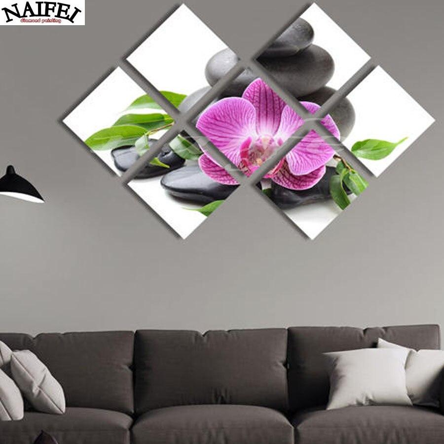 7 pz, 3D Diamante Pittura Orchidea Pietre, Cristallo Strass Quadrato Immagine Kit Punto Croce, Multi-picture, fai da te Diamante Ricamo