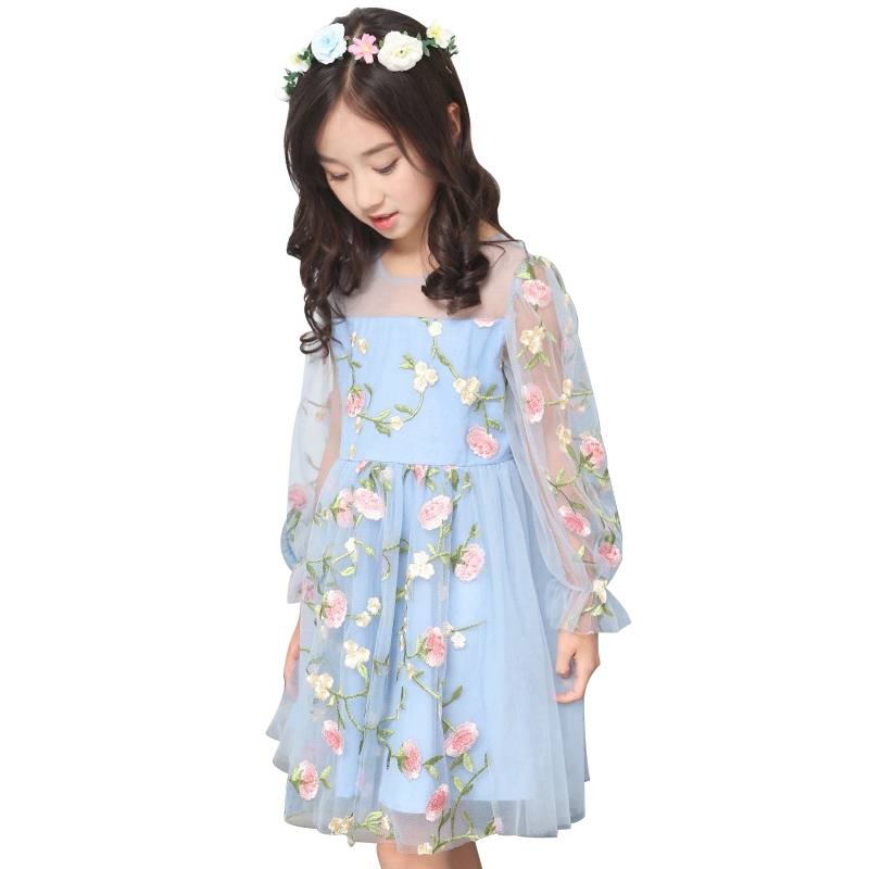 Pink Long Sleeve Tulle Floral Embroidery Dress Girl Summer 2018 New Princess Dress Elegant Party Dresses Size 5 to 14 Years Old