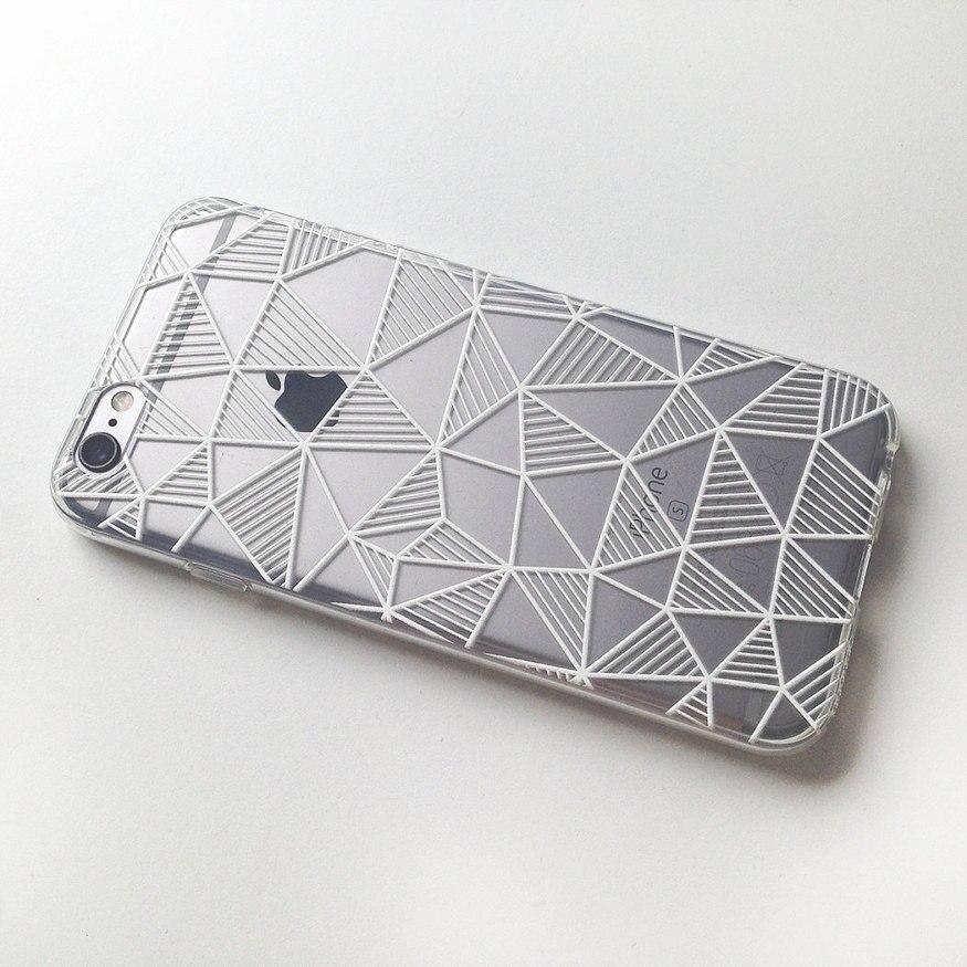 Rayas geométricas del triángulo blanco y negro suave borrar phone case fundas co