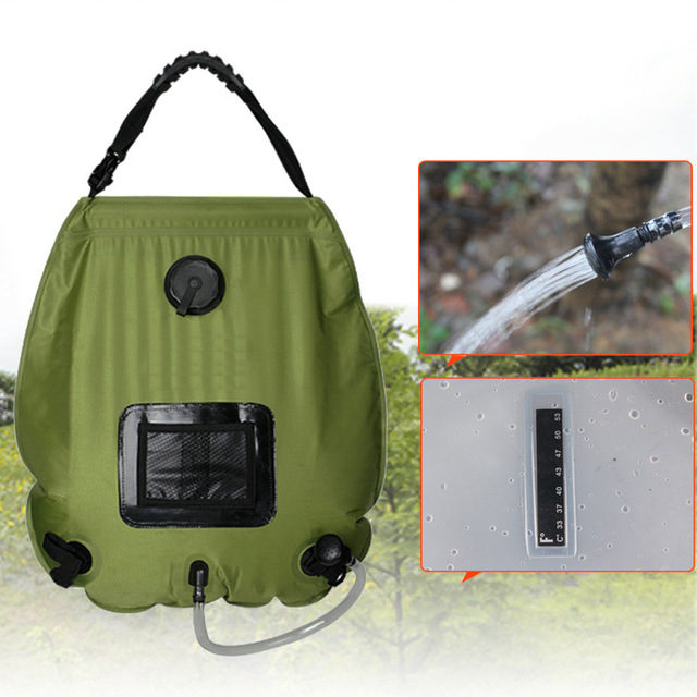 brand quality portable outdoor camping travel solar shower water bag camp shower 20l with thermometer