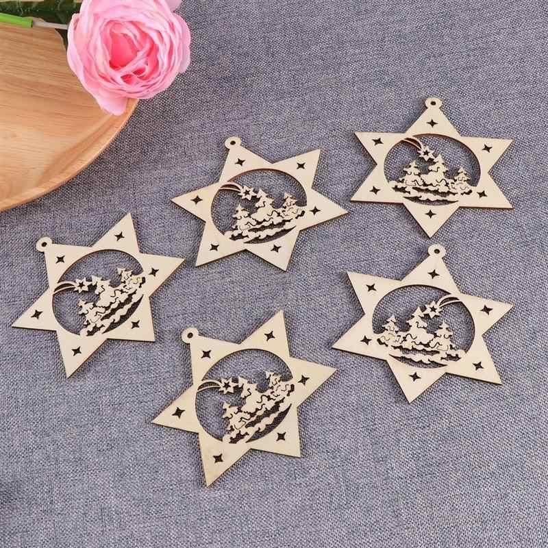 10pcs Hexagram Star ไม้แผ่นไม้แผ่นสำหรับ DIY Crafting เครื่องประดับตกแต่งจี้คริสต์มาสตกแต่ง A3
