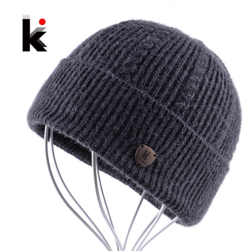 2017 Men's Skullies Autumn And Winter Beanie Wool Hat Knitted Bonnet Cap Thicker Fringe Mens Beanies Hats For Men Bonne Caps wool skullies cap hat 10pcs lot 2289
