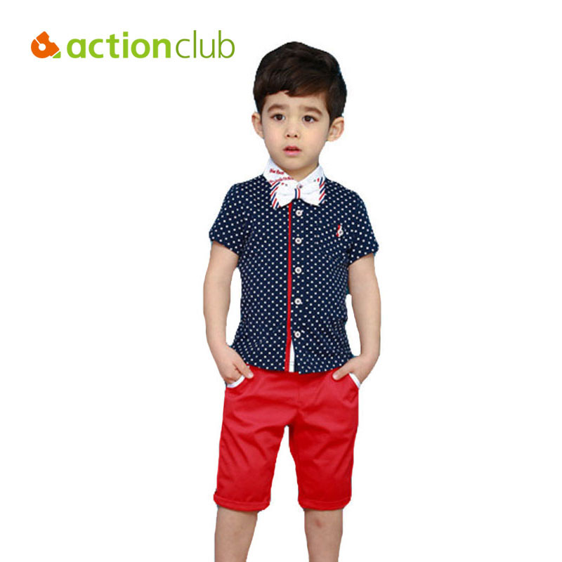 Actionclub Boys Clothes Set Children Clothing Sets Summer Short-sleeve Shirt And Pants Kids T Shirt With Necktie