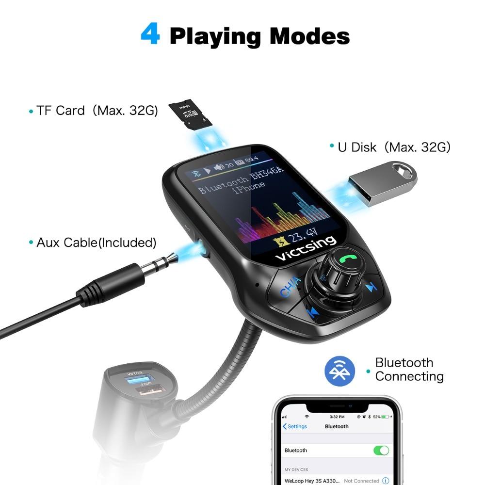 VicTsing FM Bluetooth Transmitter Radio Adapter 4